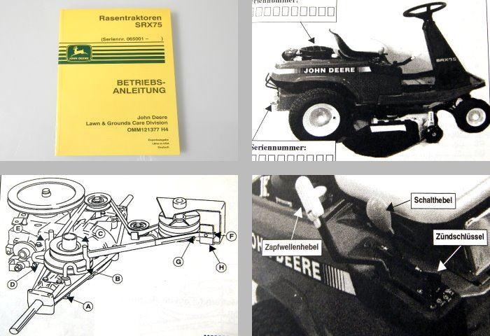 john deere srx75 rasentraktor betriebsanleitung 1993 ebay. Black Bedroom Furniture Sets. Home Design Ideas