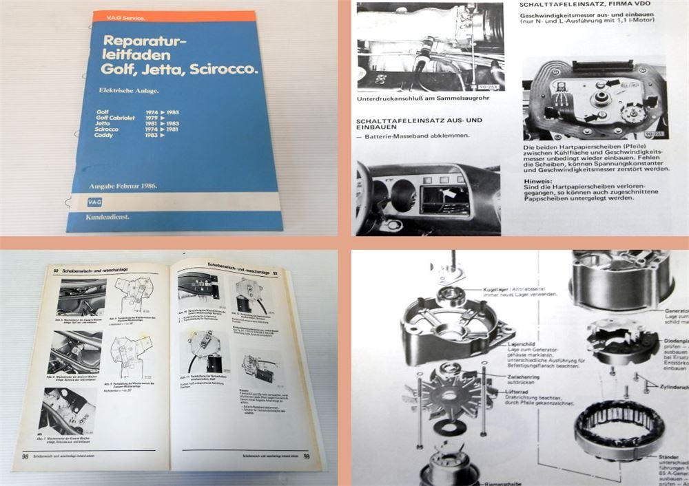 reparaturhandbuch vw golf 1 gti cabrio elektrische anlage. Black Bedroom Furniture Sets. Home Design Ideas