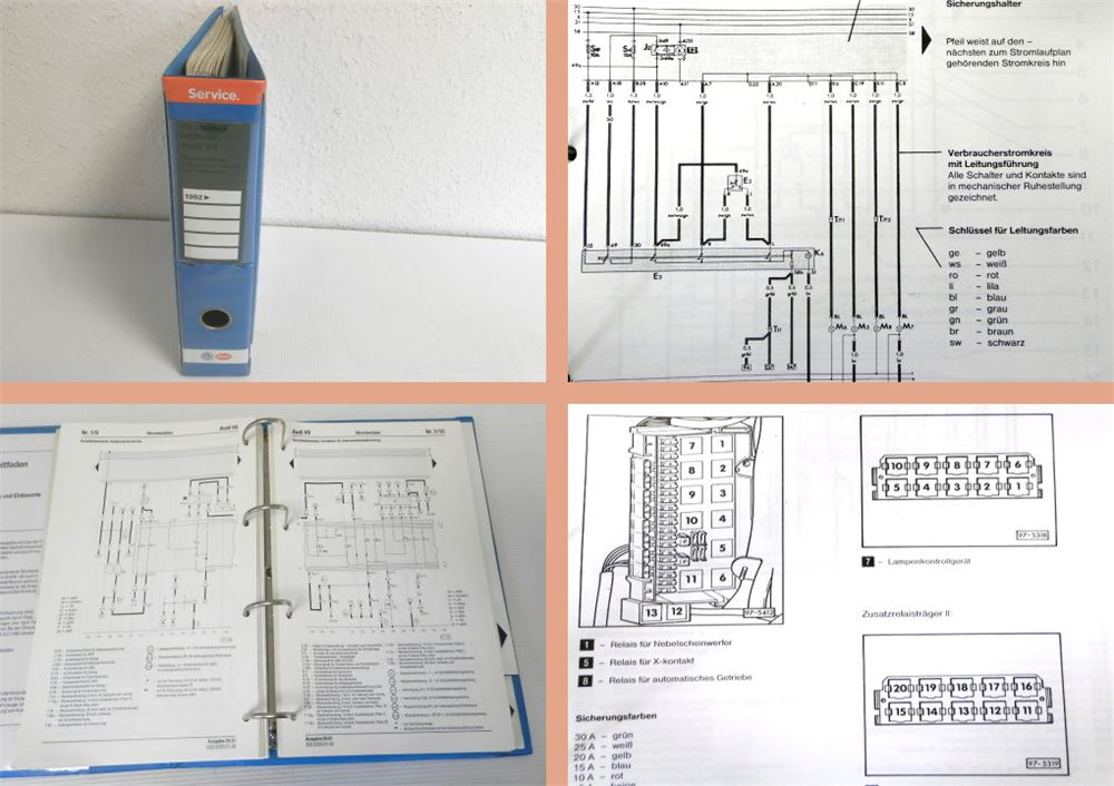 reparaturleitfaden audi v8 d11 1992 8 1991 stromlaufpl ne. Black Bedroom Furniture Sets. Home Design Ideas
